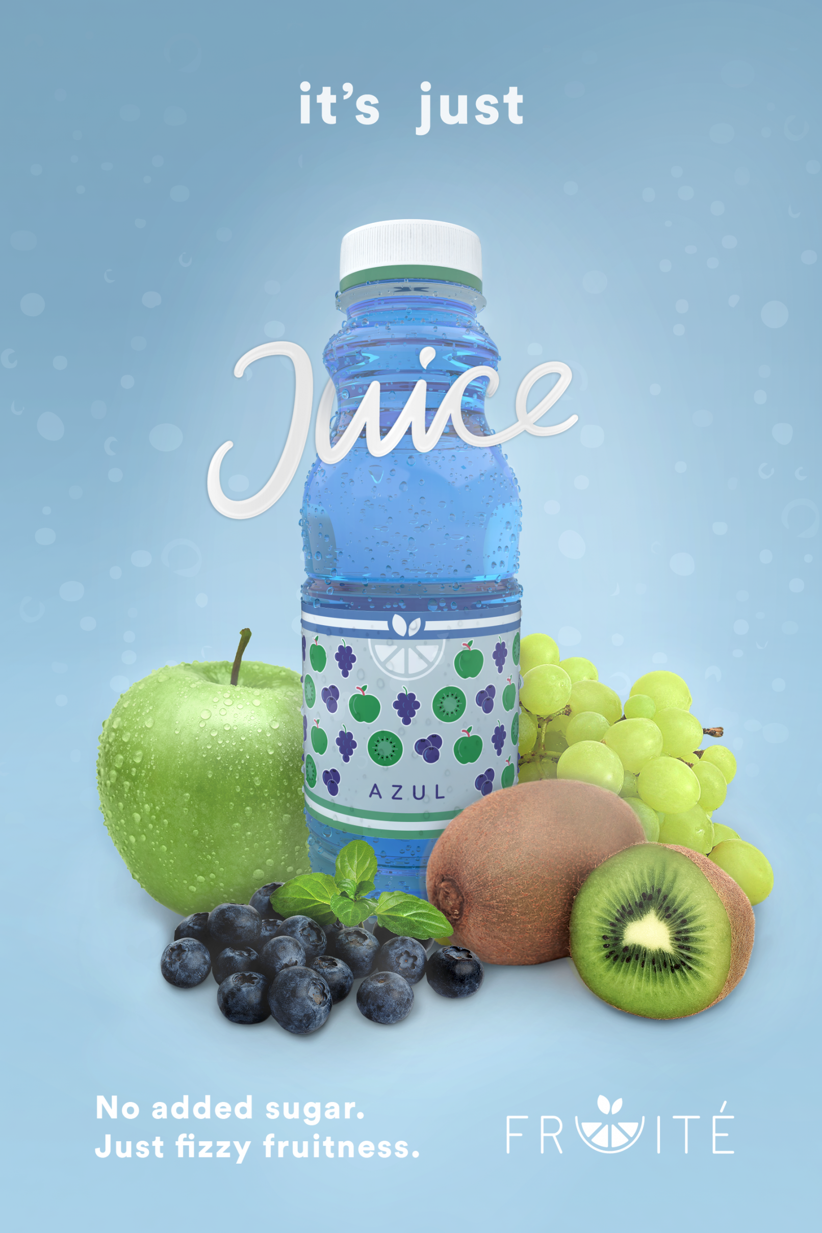 Fruit Drink Poster Advert Blue